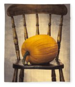 Pumpkin On Chair Fleece Blanket