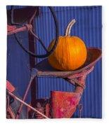 Pumpkin On Tractor Seat Fleece Blanket
