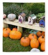 Pumpkins And Birdhouses Fleece Blanket