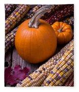 Pumpkins And Corn Fleece Blanket