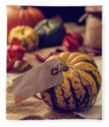Pumpkins With Label Fleece Blanket