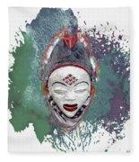 Punu Mask - Maiden Spirit Mukudji Fleece Blanket