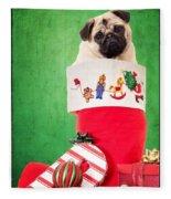 Puppy For Christmas Fleece Blanket