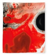 Pure Passion - Red And Black Art Painting Fleece Blanket