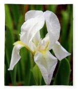 Purely White Iris Fleece Blanket