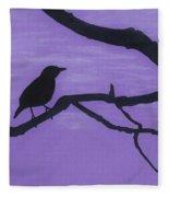 Purple - Bird - Silhouette Fleece Blanket