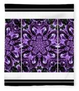 Purple Abstract Flower Garden - Kaleidoscope - Triptych Fleece Blanket