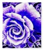 Purple And Blue Rose Expressive Brushstrokes Fleece Blanket
