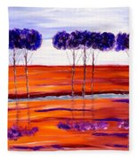 Purple And Blue Trees Abstract Fleece Blanket
