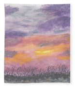 Purple And Gold November Sunset In West Michiganwatercolor Fleece Blanket