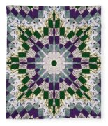 Purple And Green Patchwork Art Fleece Blanket