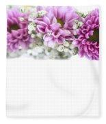 purple and mauve Flower frame on white  Fleece Blanket