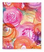 Purple And Orange Flowers Fleece Blanket