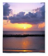 Purple And Pink Sunset Caribbean Dream Fleece Blanket