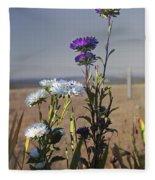 Purple And White Flowers In The Sun Fleece Blanket
