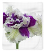Purple And White Frilly Petunia Fleece Blanket