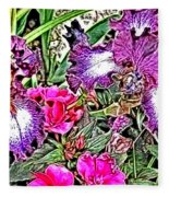Purple And White Irises And Pink Flowers Fleece Blanket