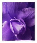 Purple Begonia Flower Fleece Blanket