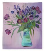 Purple Belle Bouquet  Tulips And Irises Fleece Blanket