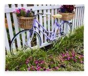 Purple Bicycle And Flowers Fleece Blanket