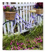 Purple Bicycle And Flowers Fleece Blanket