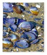 Purple Clam Shells On A Beach Fleece Blanket