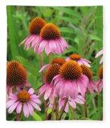 Purple Cone Flowers Fleece Blanket