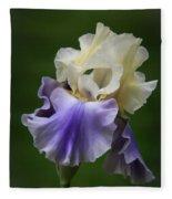 Purple Cream Bearded Iris Fleece Blanket