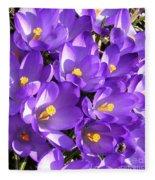 Purple Crocus Spring Welcome Fleece Blanket