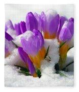 Purple Crocuses In The Snow Fleece Blanket