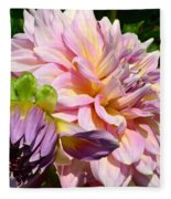 Purple Dahlia With Bud Fleece Blanket