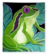 Purple Eyed Frog Fleece Blanket