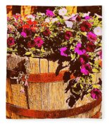 Purple Flowers In Rusty Bucket Fleece Blanket