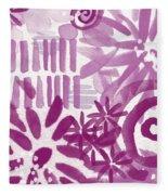 Purple Garden - Contemporary Abstract Watercolor Painting Fleece Blanket
