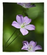 Purple Geranium Flowers Fleece Blanket
