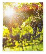 Purple Grapes In Sunshine Fleece Blanket