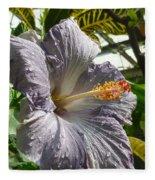 Purple Hibiscus Fleece Blanket