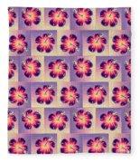 Purple Hibiscus Pattern Fleece Blanket