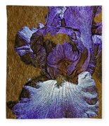 Purple Iris Gold Leaf Fleece Blanket