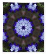 Purple Iris Kaleidoscope Fleece Blanket