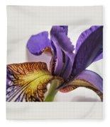 Purple Iris Macro 5 Fleece Blanket