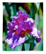 Purple Iris Opens Fleece Blanket