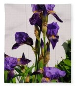 Purple Iris Stalk Fleece Blanket