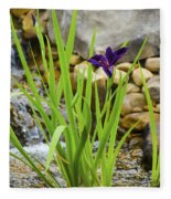 Purple Irises Growing In Waterfall Fleece Blanket