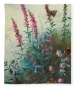 Purple Loosestrife And Watermind Fleece Blanket