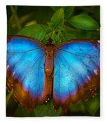 Purple Morpho Butterfly Fleece Blanket