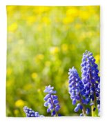 Blue Muscari Mill Bunches Of Grapes Close-up  Fleece Blanket