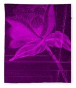 Purple Negative Wood Flower Fleece Blanket