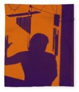 Purple Orange Figure Shadow Fleece Blanket