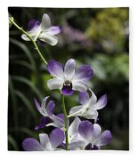 Purple Orchid Flower Inside The National Orchid Garden In Singapore Fleece Blanket
